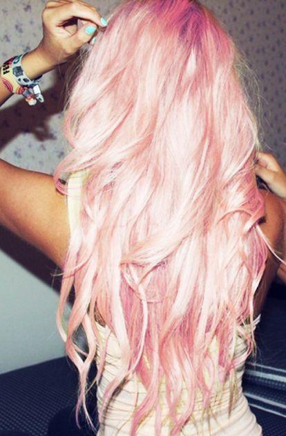 super cute full long light pink hair