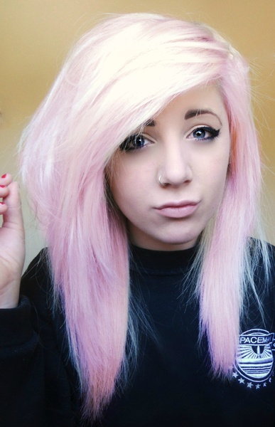 super light cotton candy pink hair