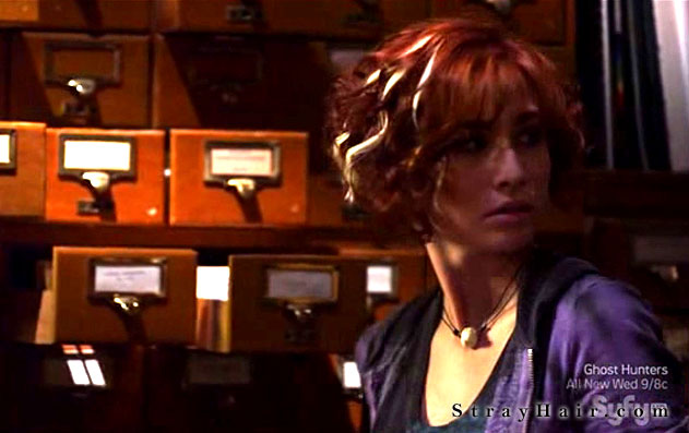 warehouse 13 Allison Scagliotti curly red hair with white strands extensions