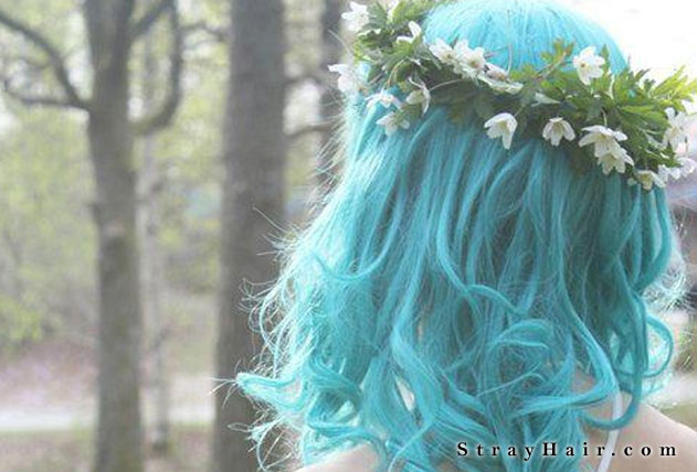 whimsical light blue hairstyle
