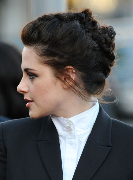 Kristen Stewart braided updo detail hairstyle