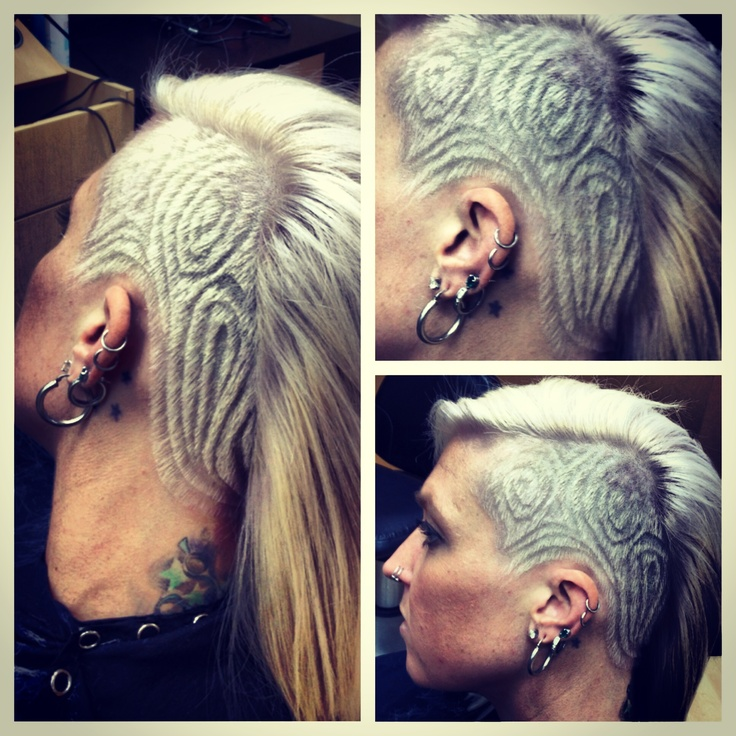 bleach blonde swirls undercut hairstyle design