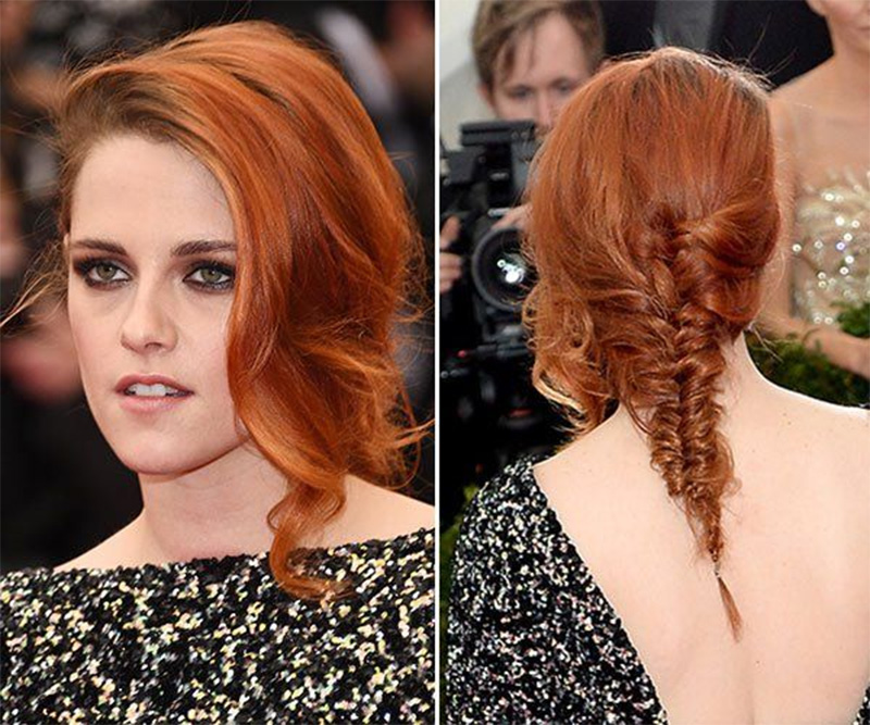 kristen stewart fishtail braid in red ginger