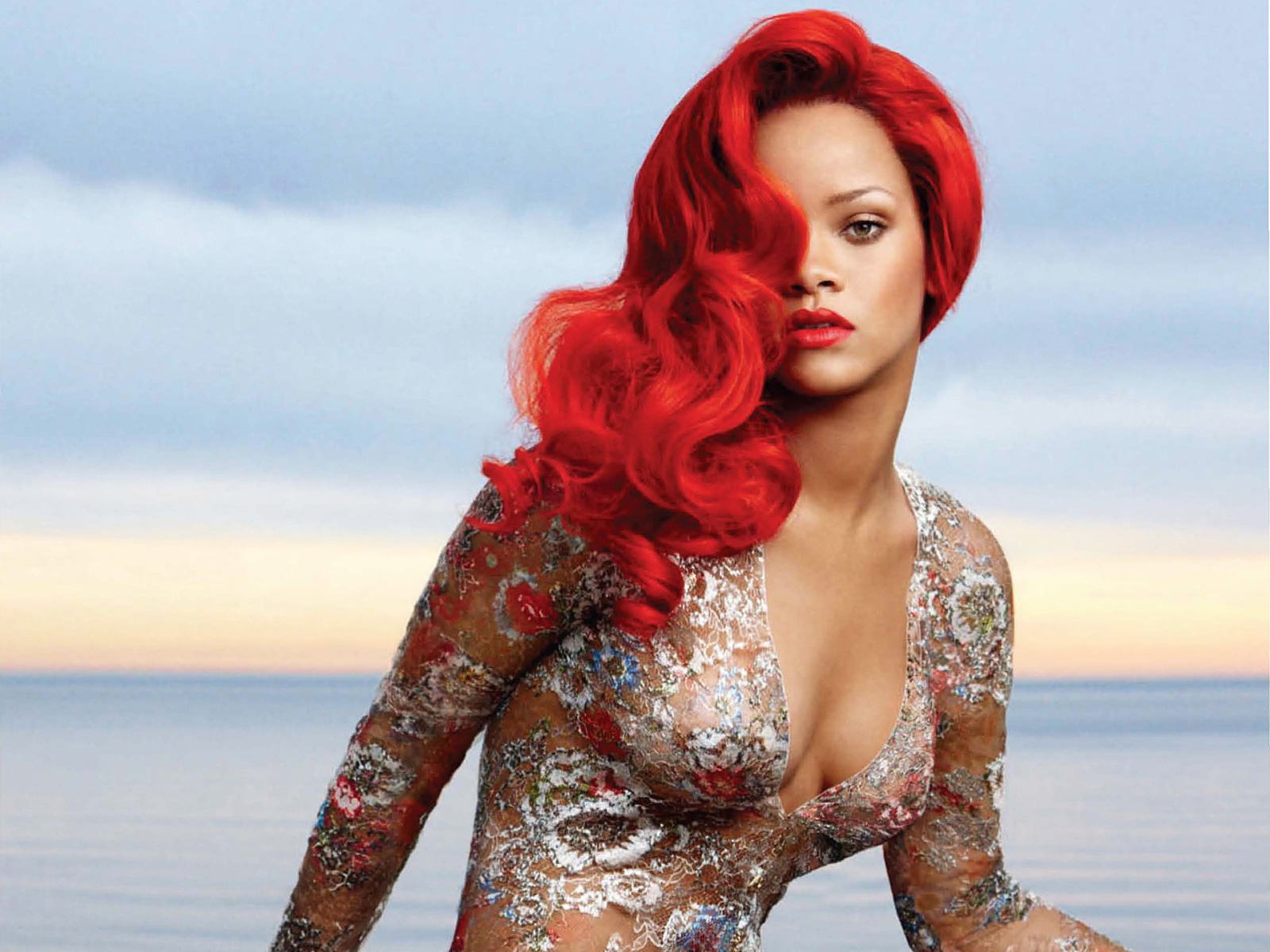 rihanna bright red hairstyle for vogue magazine