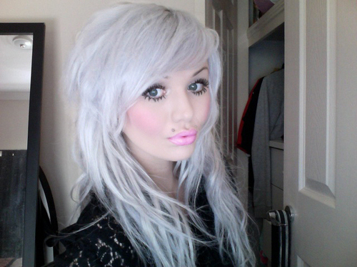gray white bleached dyed hair