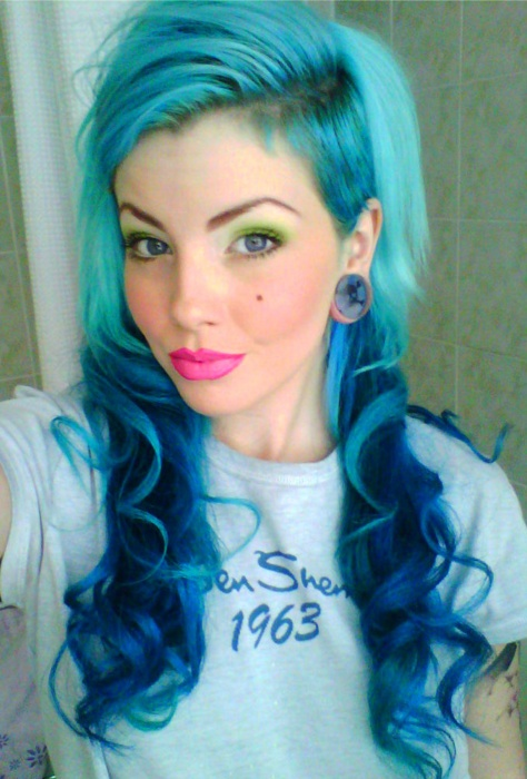 bright blue undercut hairstyle