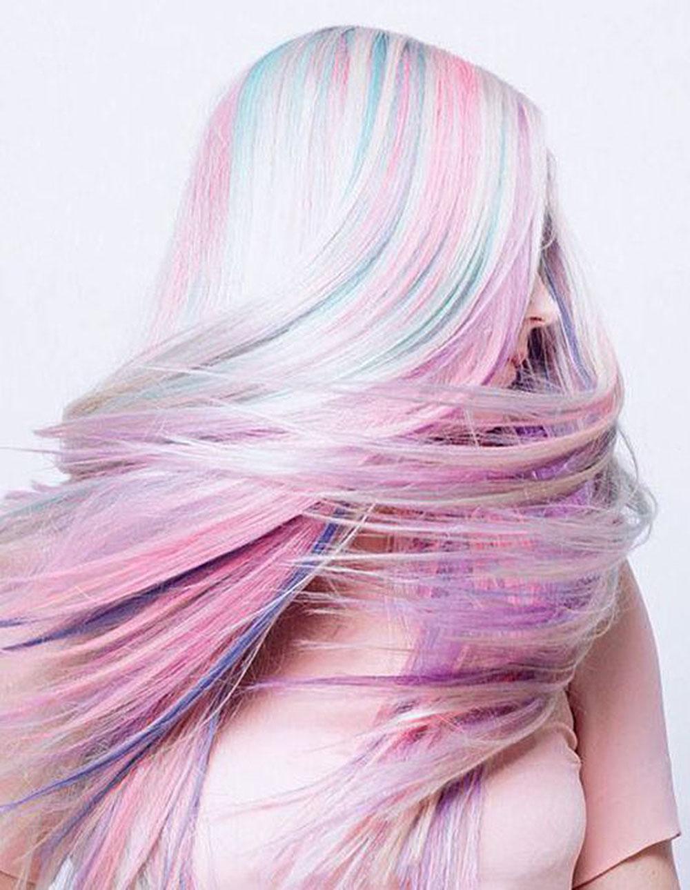 long opal pastel rainbow hair color