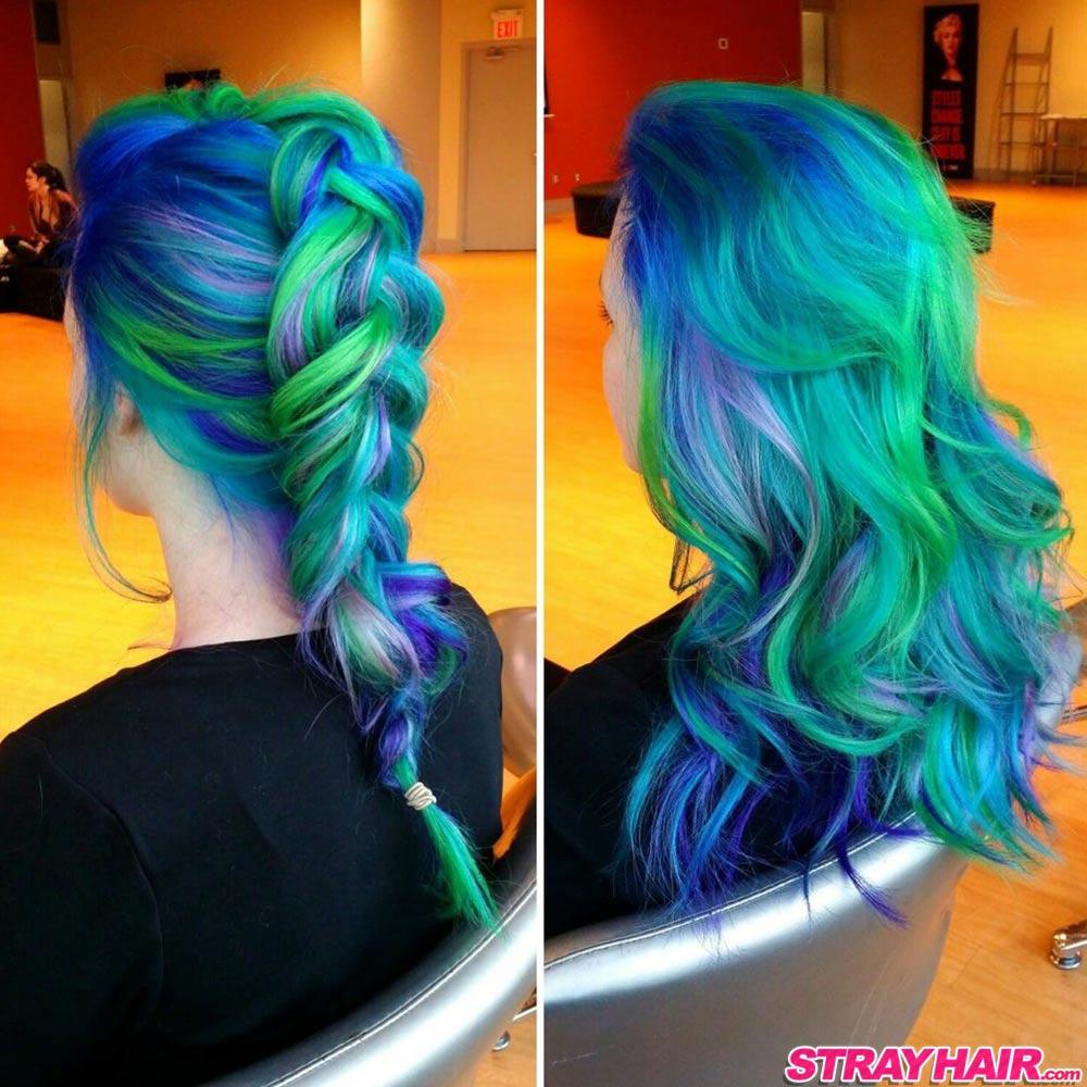 Aurora Borealis Hair Color Braided