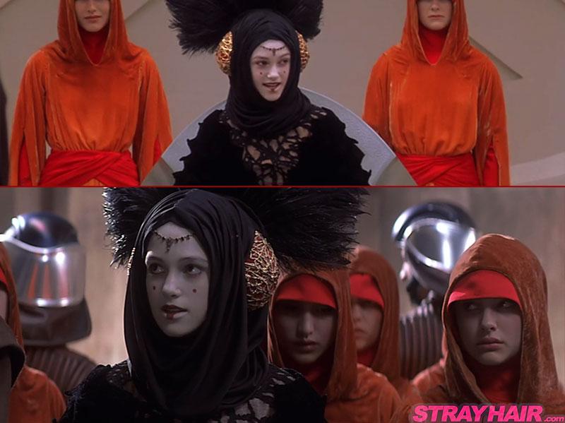 Natalie Portman starwars queen amadala hairstyles black feathered headdress costume