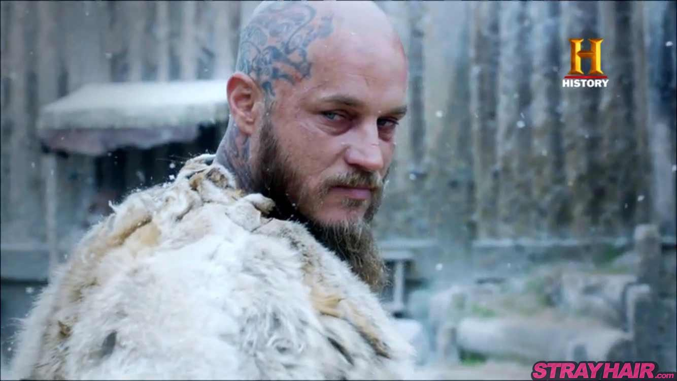 Ragnar Lothbrok Travis Fimmel Vikings season 4 shaved head tattoo