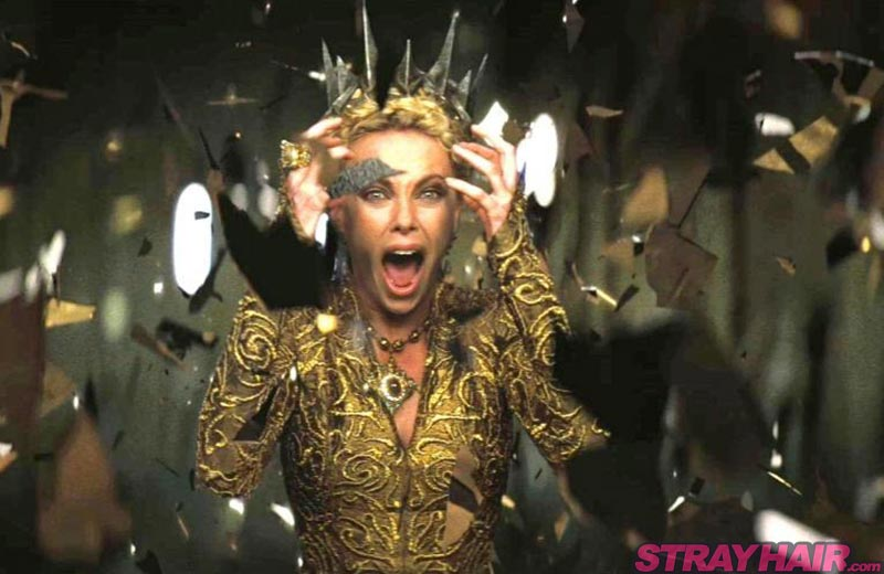 The Huntsman Winters War Shattering Mirror Charlize Theron Ravenna bad hair day