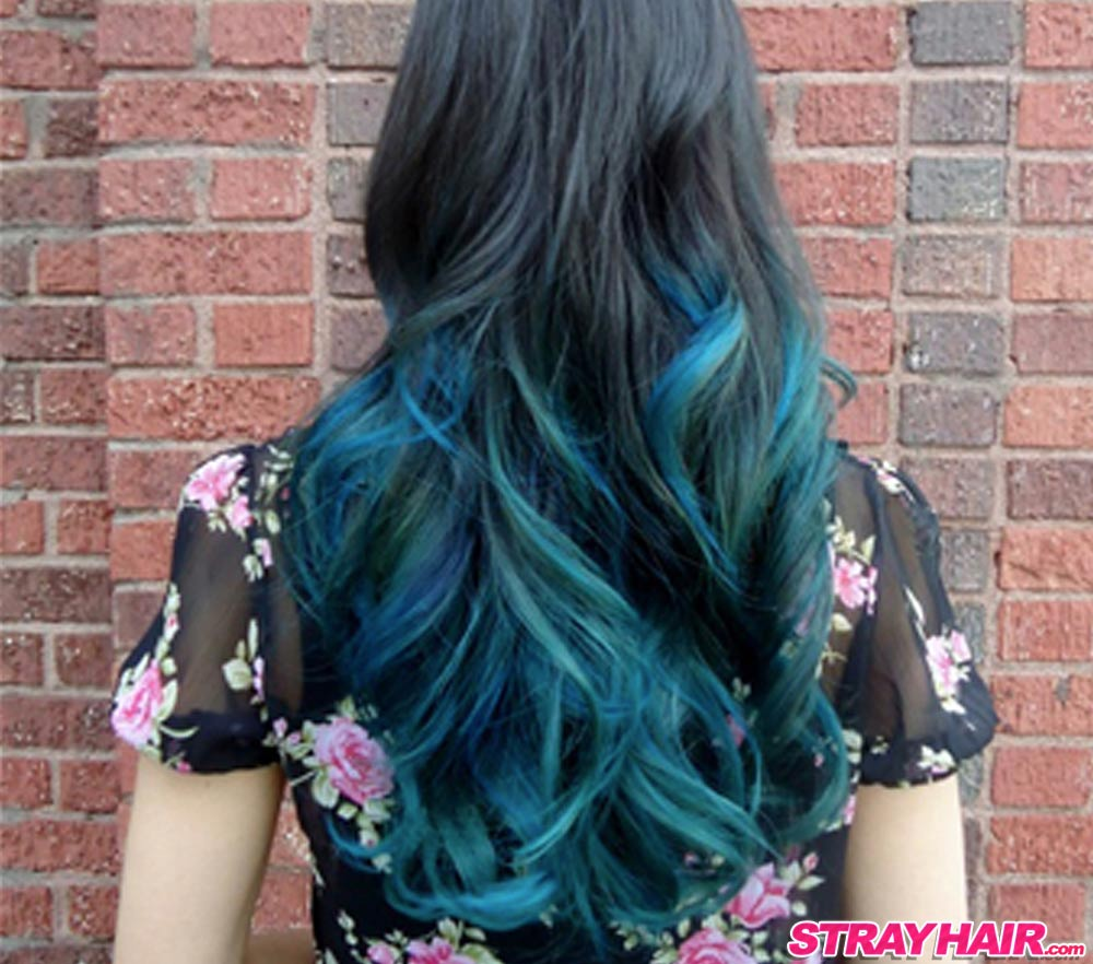 blue green black ombre Northern Lights hair color