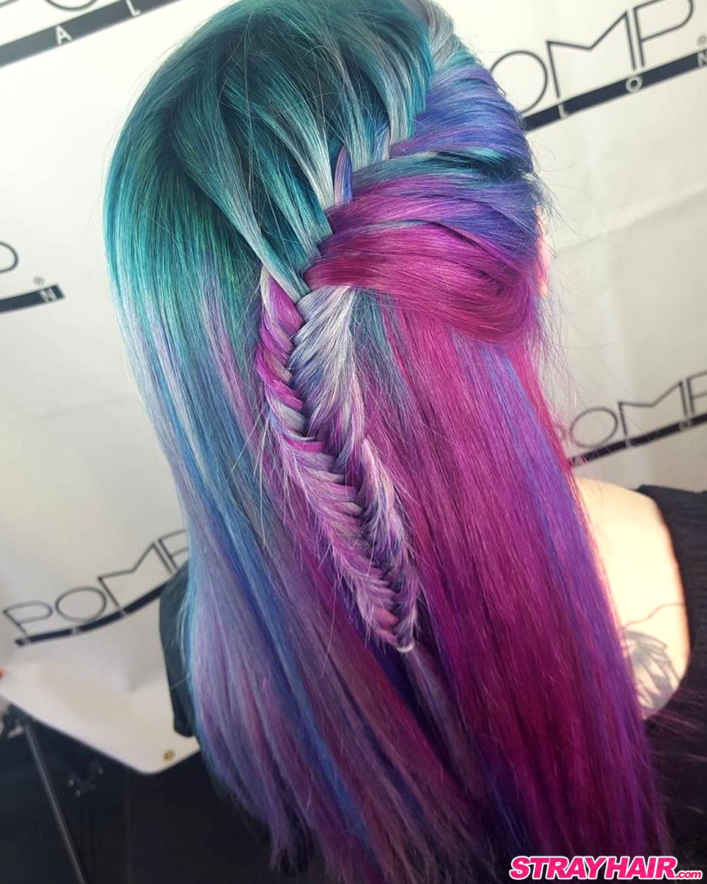 green purple pink Aurora hair color