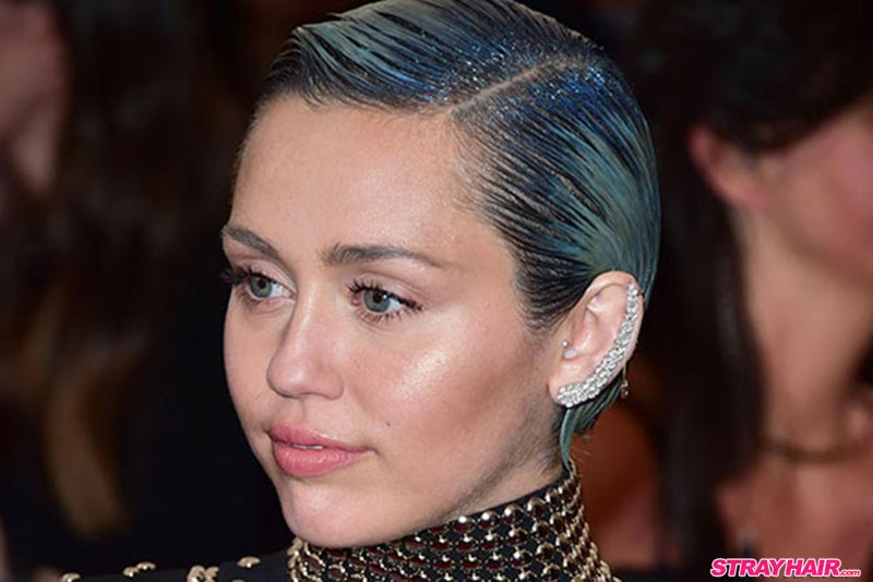 Miley Cyrus Blue GlitterRoots Hairstyle