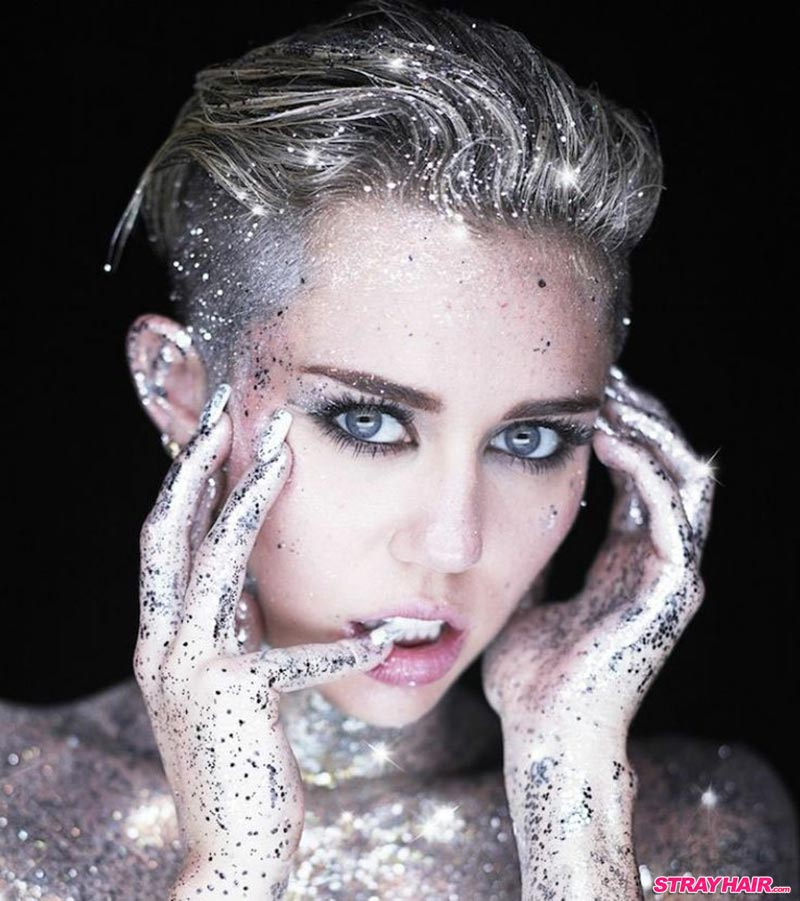 Miley Cyrus Silver Glitter Hair