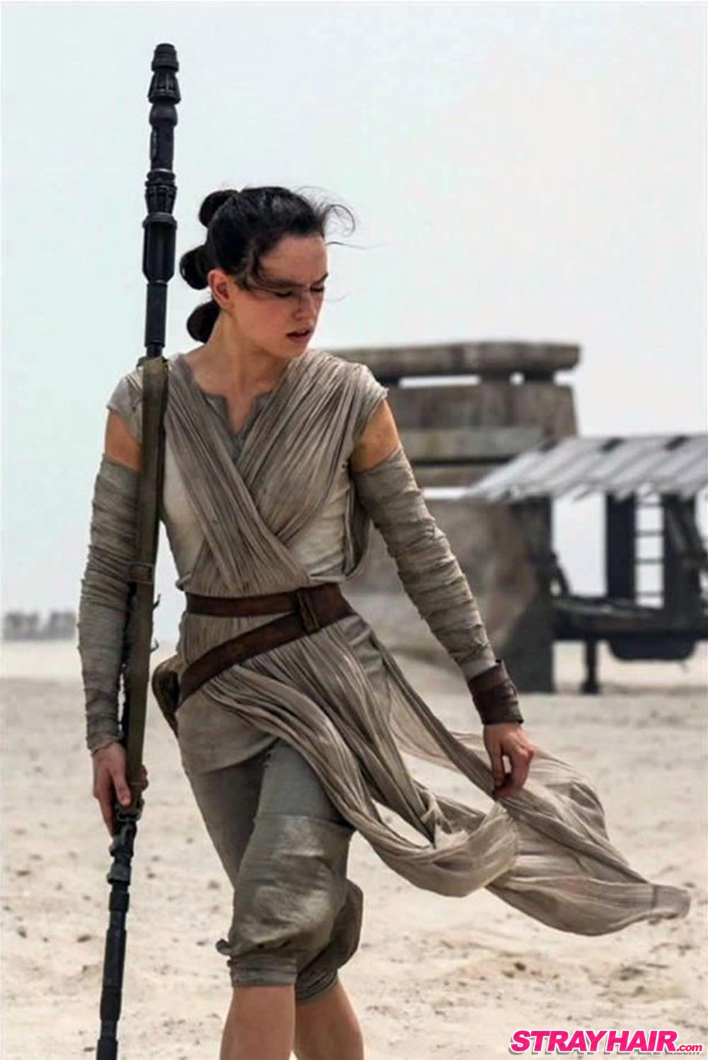 rey triknot hairstyle in star wars episode vii the force