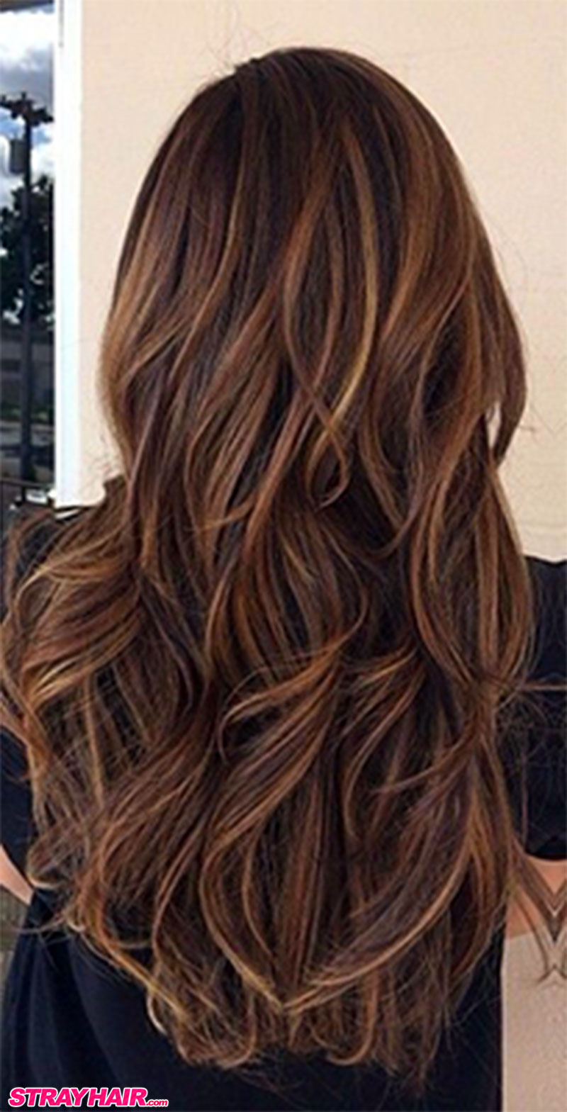 chocolate brown hair color with dimensional caramel highlights