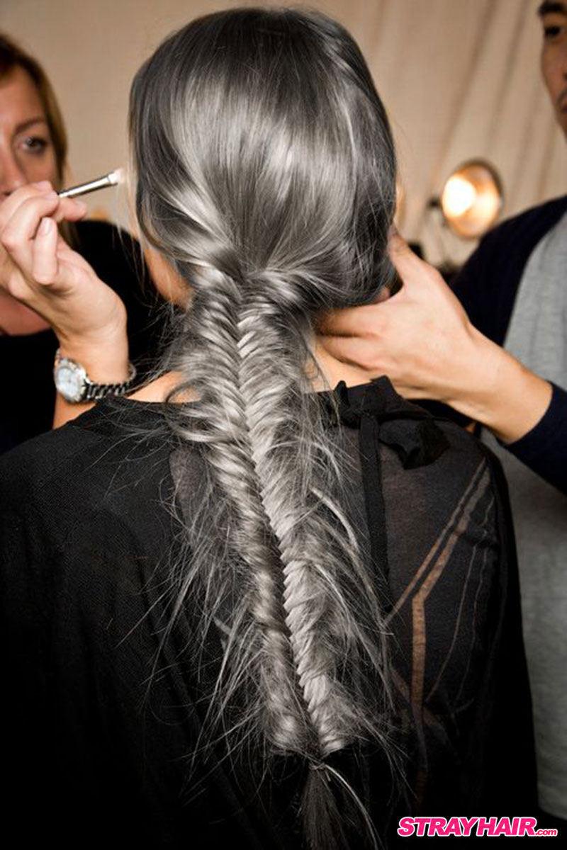long silver gray braided hairstyle