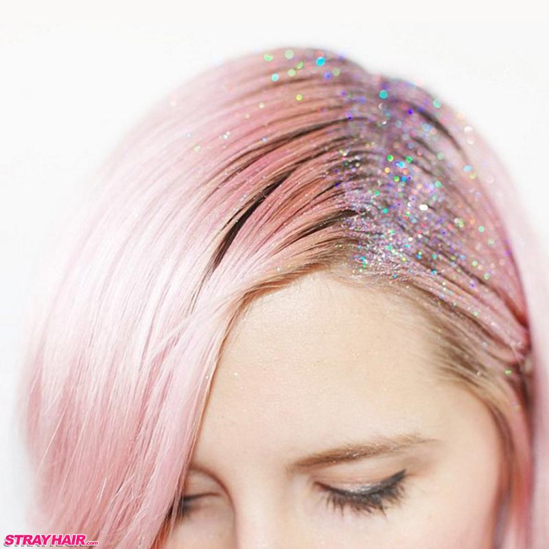 pink hair with multi-color glitter roots