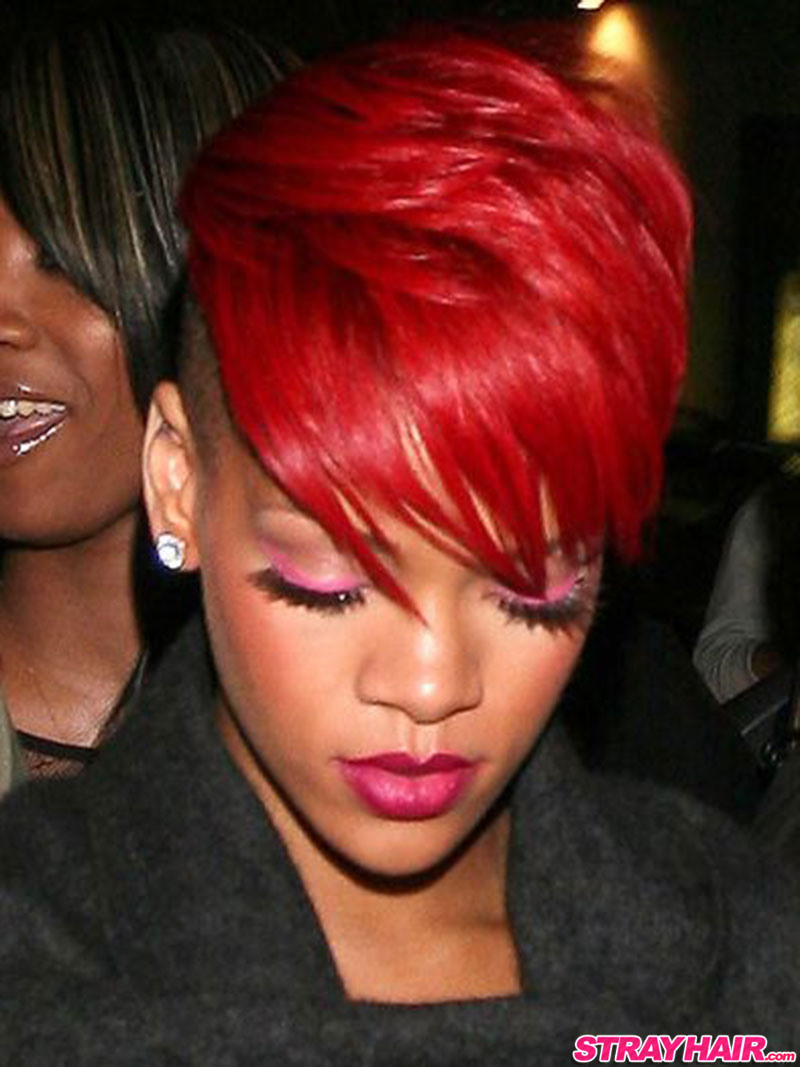 rihanna short red hair with shaved undercut