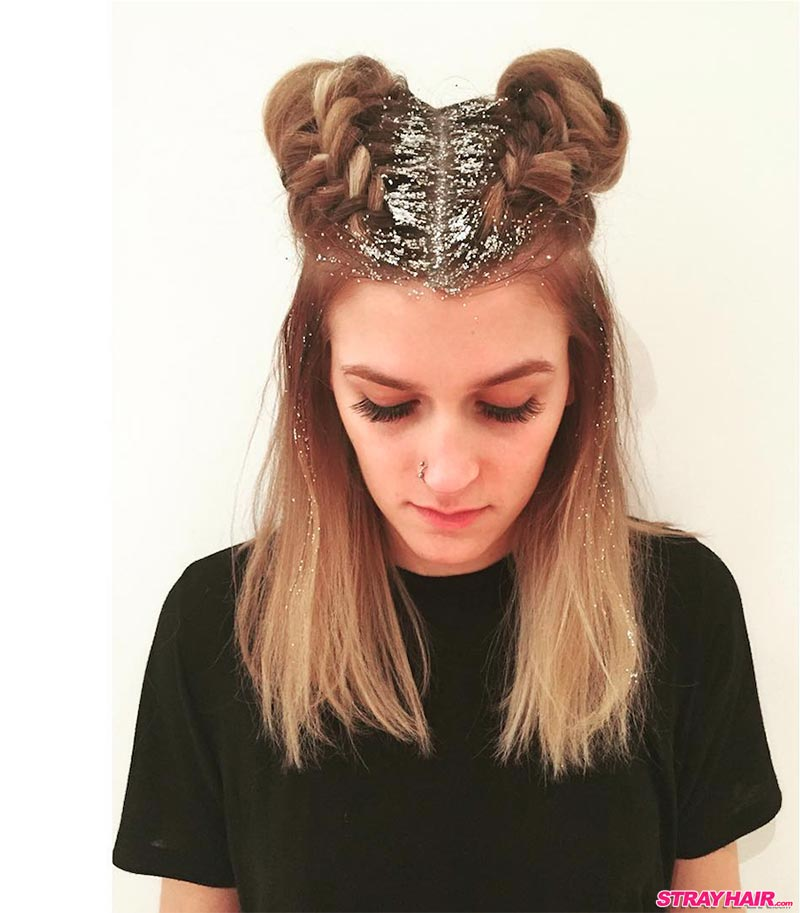 silver sparkles blond hair