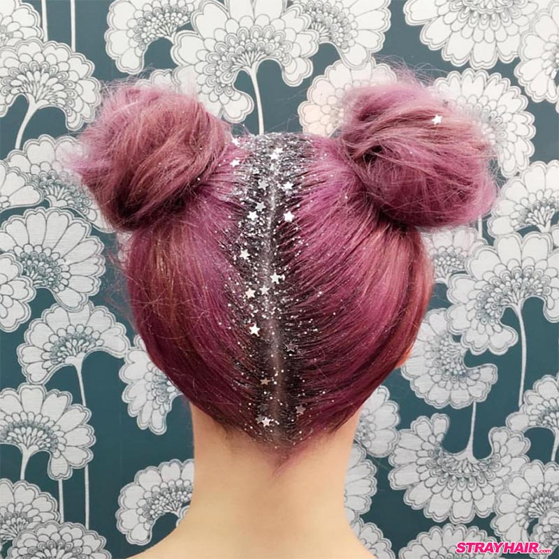 sliver star glitter roots and pink hair